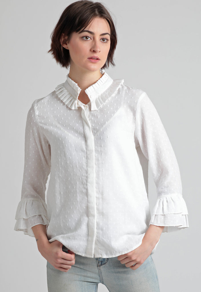 Self dobby crepe Victorian ruffle & pleats detail top