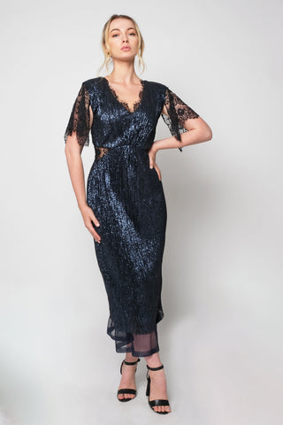 Slinky sequins cocktail dress with lace sleeves