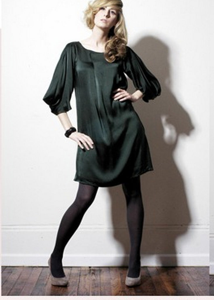 Silk folded front and cowl sleeves dress