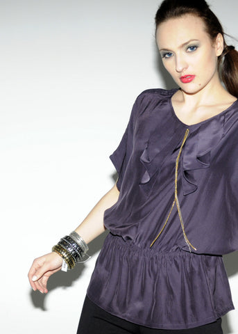 Silk tunic top with ruffle & chains detail - SOLD OUT