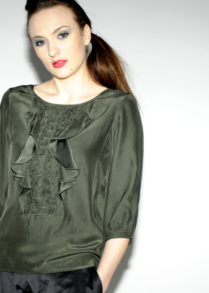 Silk hand-pintucked front detail top