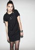Wool crepe LBD metal stones dress