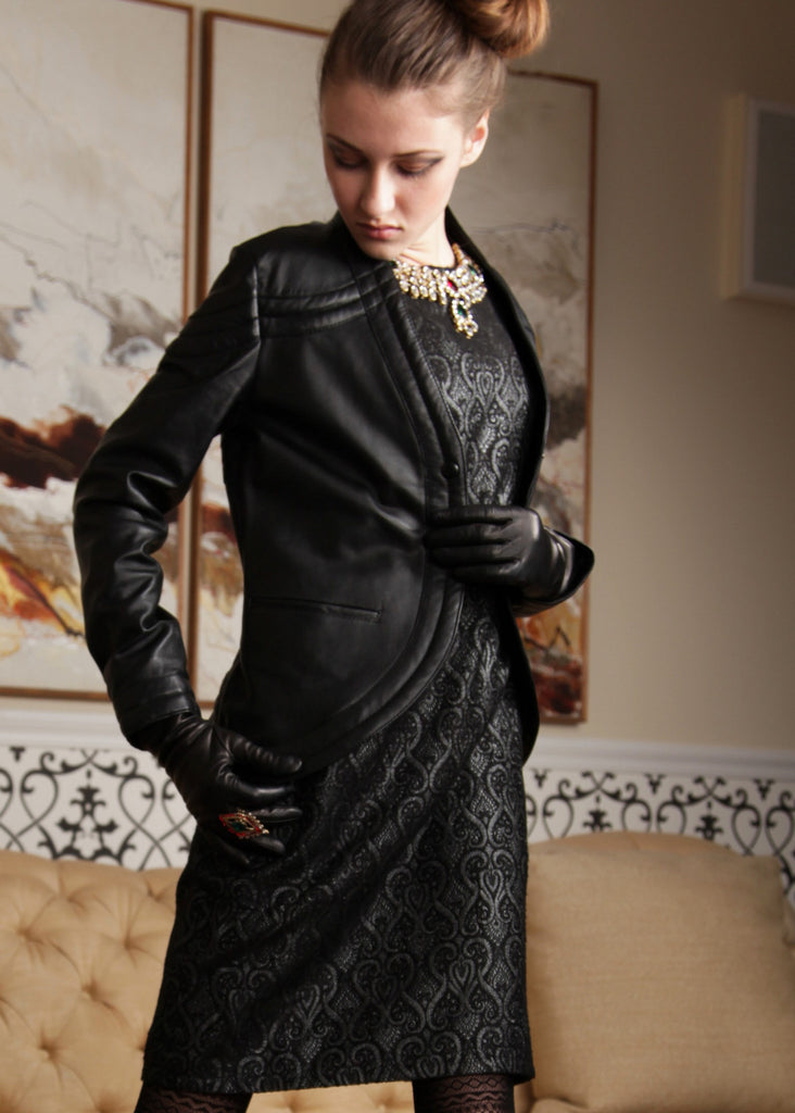 Leather rounded front suit jacket