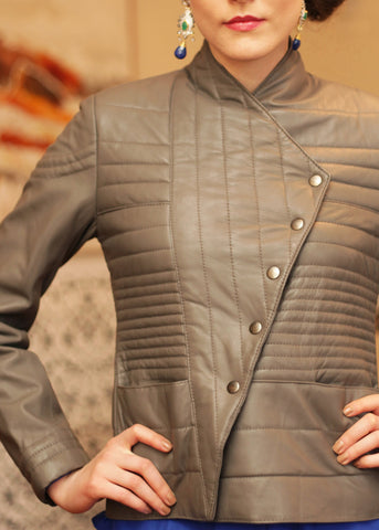 Leather quitled jacket