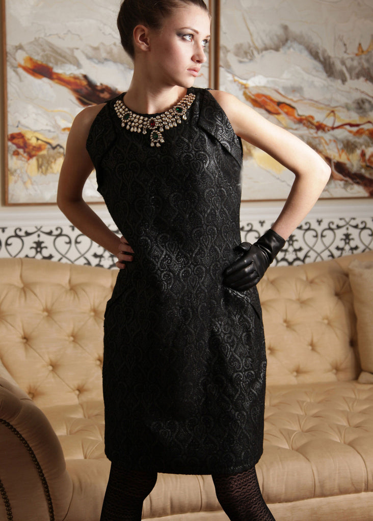Diana - Brocade folds and antique necklace detail dress - SOLD OUT