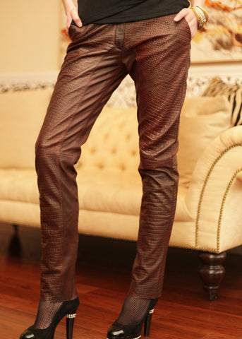 Croc finish 2-toned leather slim fit pants