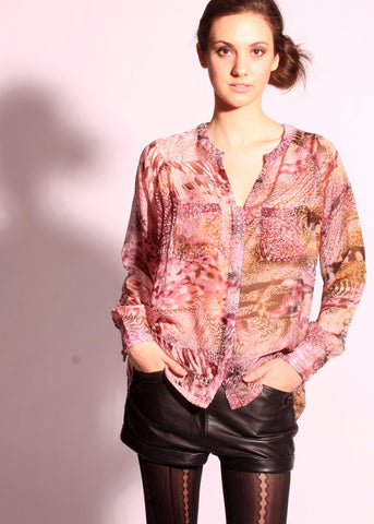 Silk print pockets detail button down shirt