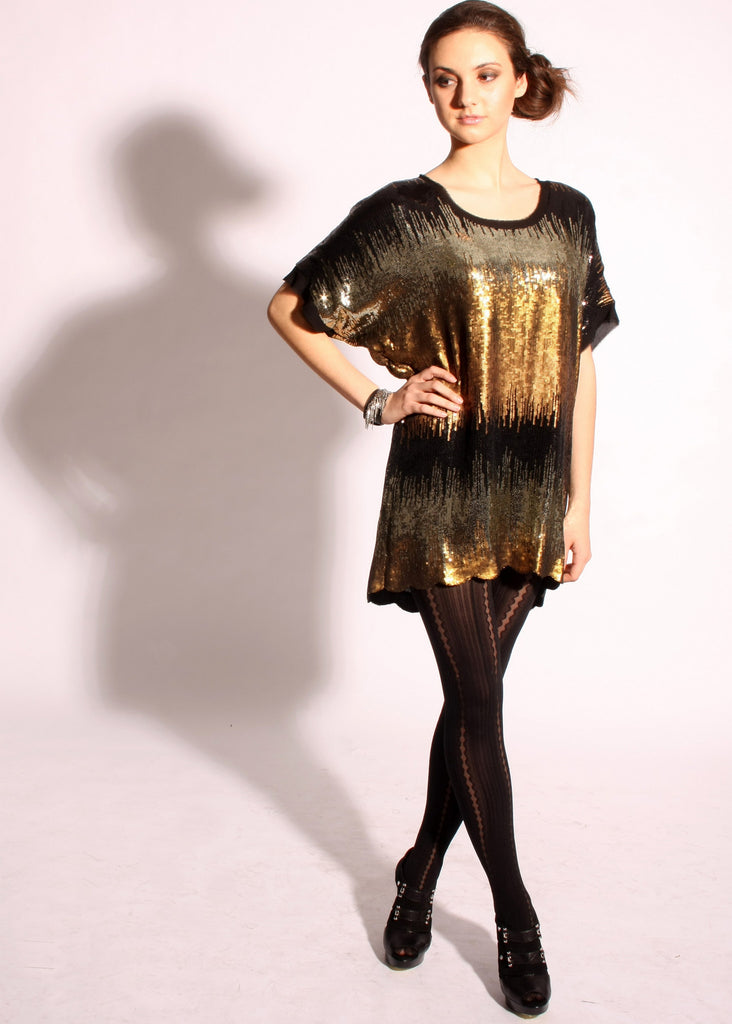 Multicolored sequins tunic dress