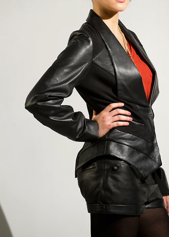 Dixy - Leather/ Ponte contoured panel jacket