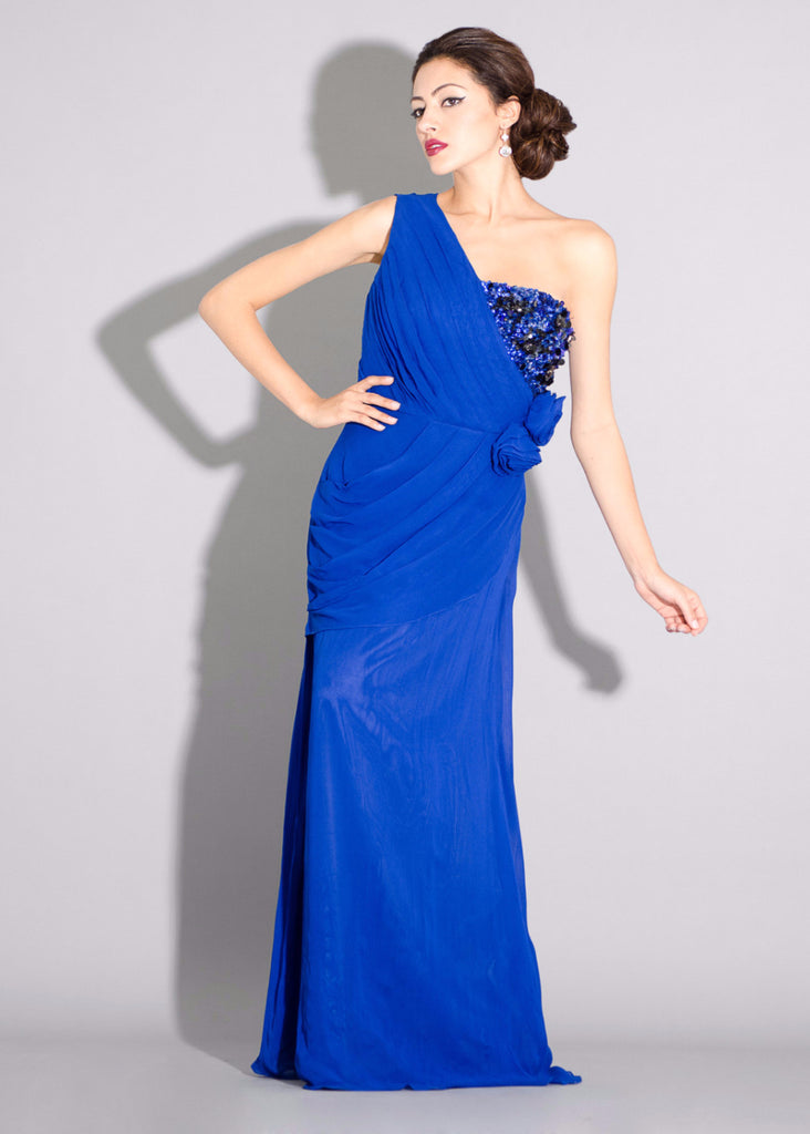Georgette one shoulder gown, side draping with floral and sequins embellishment details