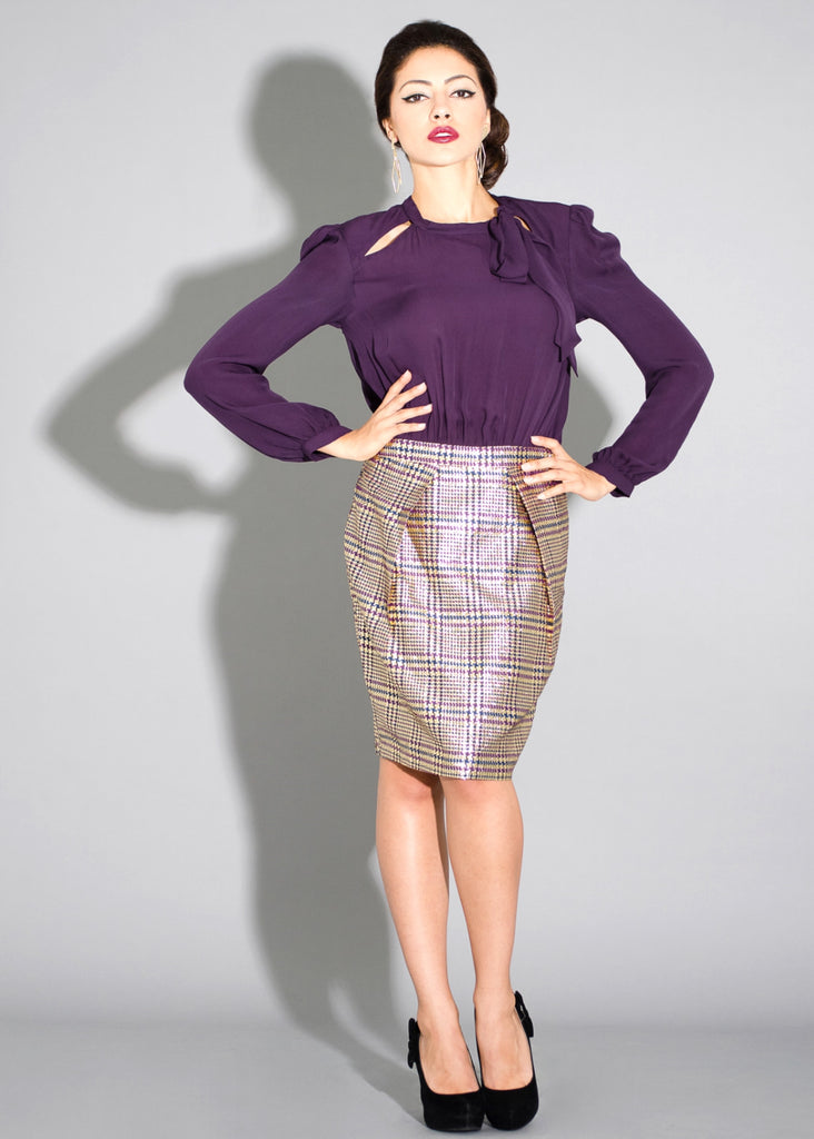 Cara- Silk and metallic plaid 2fer blouson dress