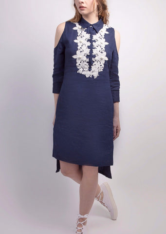 Cold shoulder linen tunic with floral lace applique