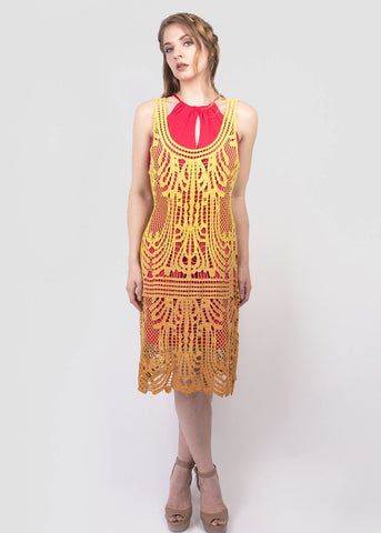 Sunset ombre crochet lace dress