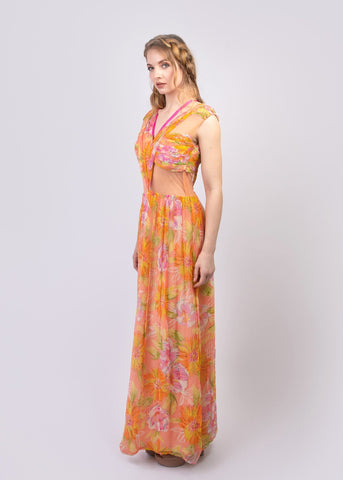 Strappy floral print chiffon maxi dress