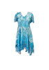 Novelty printed lace handkerchief hem dress