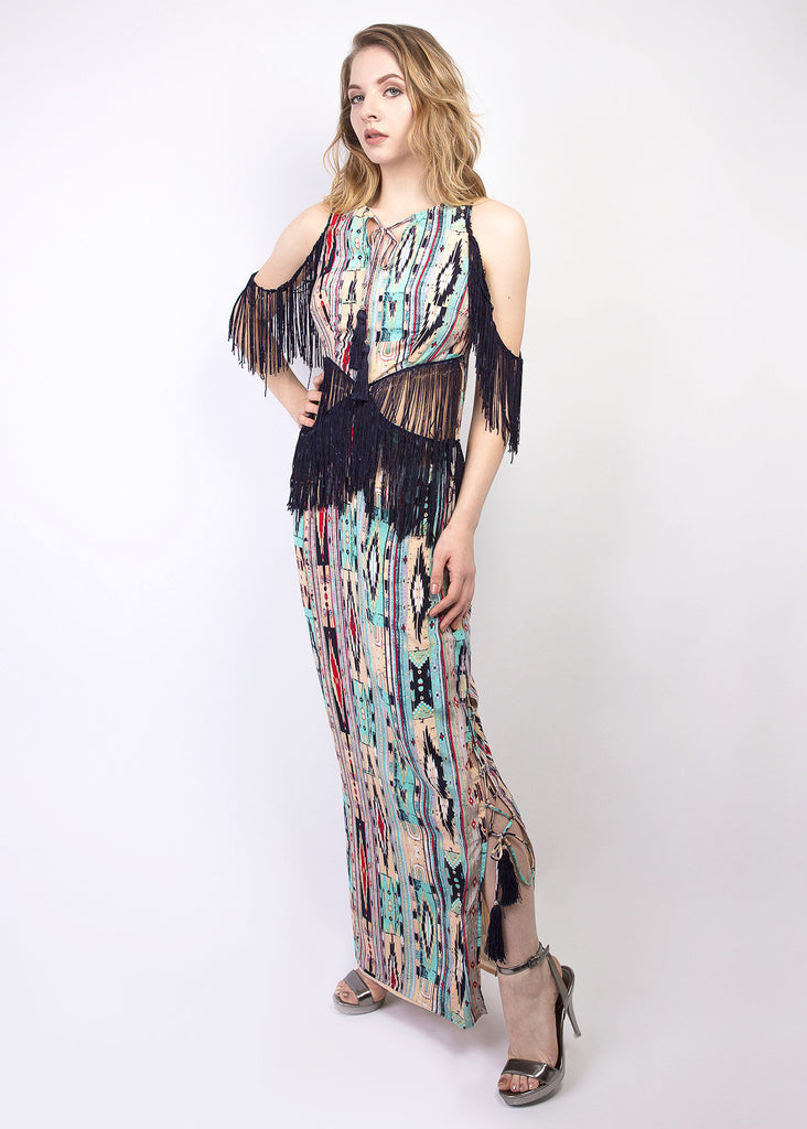 Tribal print silk maxi dress with fringe details