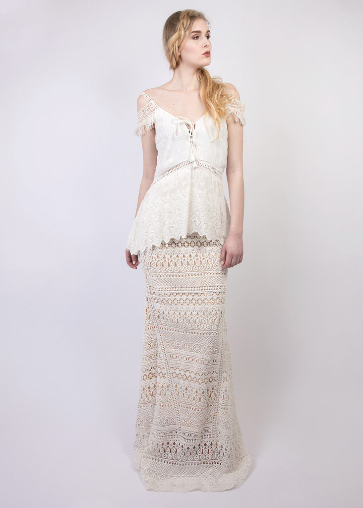 Lace peplum + fringe detail maxi dress
