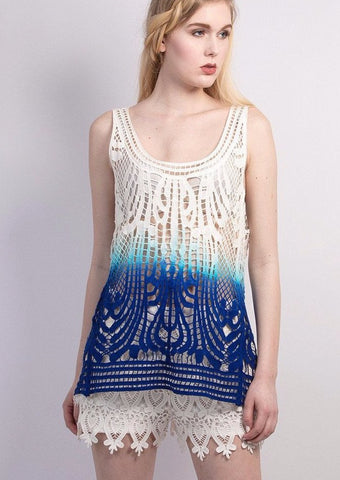 Ombre crochet lace tank top