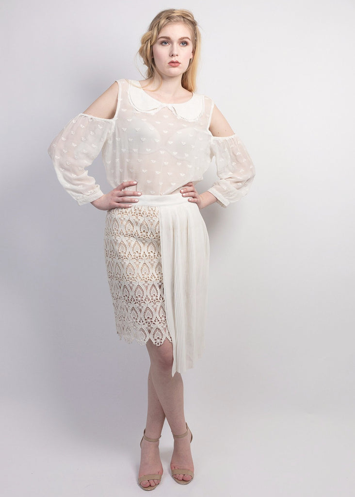 Lace skirt with Georgette pleated panel overlay
