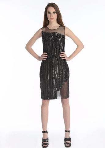 Raina - Sequin stripes sheer paneled dress