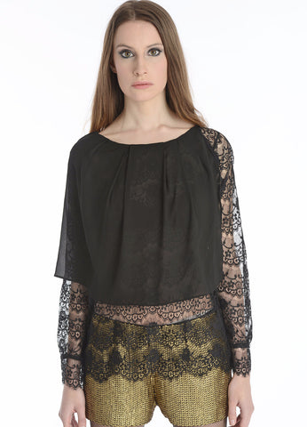 Asymmetrical Silk Top w/ Lace Sleeves