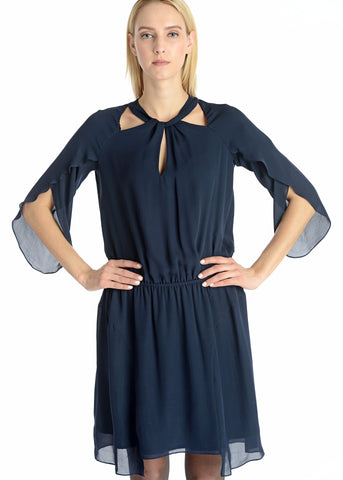 Tulip sleeves uneven hem silk dress