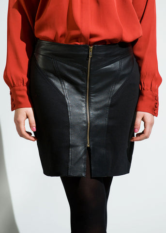 Leather / Ponte knee length skirt