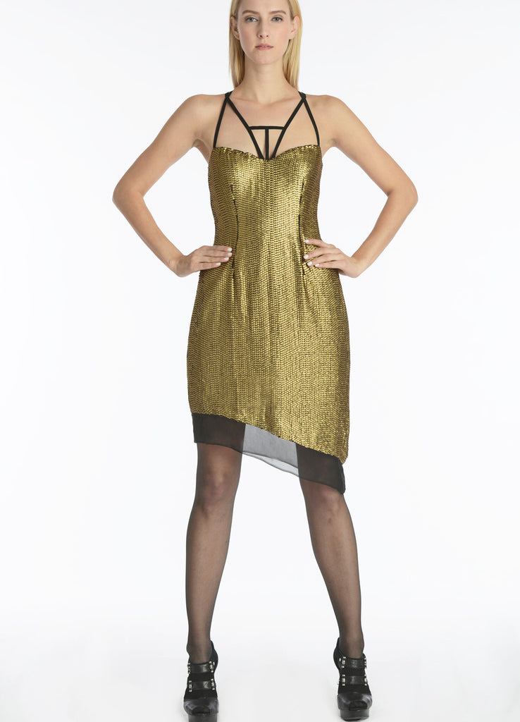 Gold Sequin Dress with Asymmetrical Hem