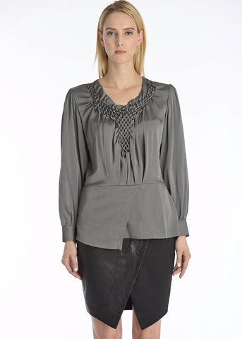 Hand pintucked silk blouse asymmetrical hemline