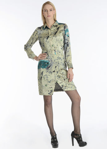 Silk Forrest print asymmetric hem shirt dress