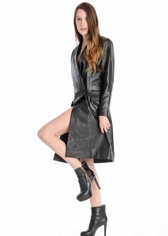 Leather long sleeve wrap coat dress