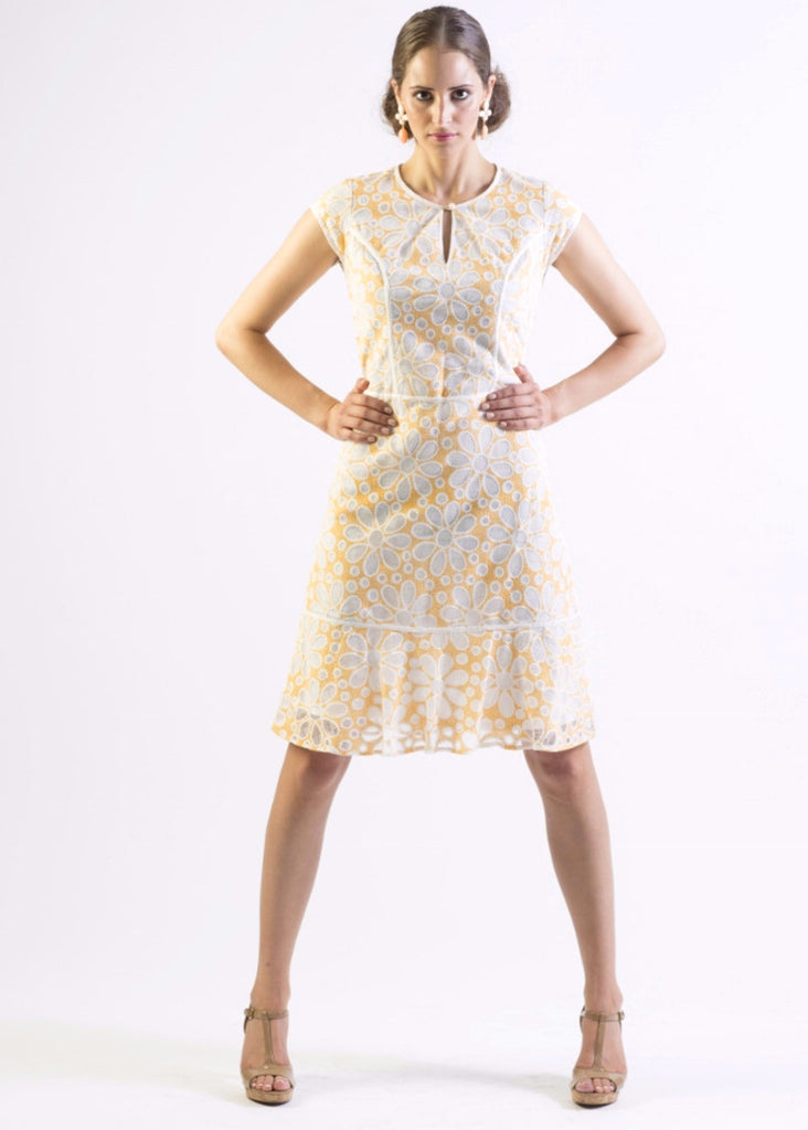 Floral lace tailored dress with contrast piping