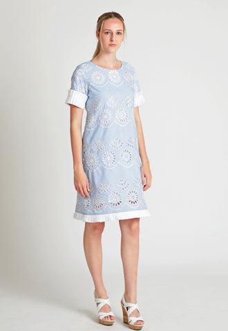 Cotton pinstripe floral embroidery shift dress