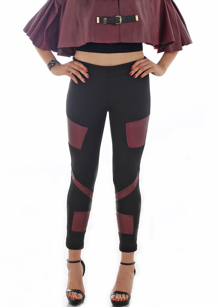 Ponte and Leather patchwork legging