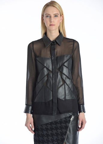 Silk & leather patchwork button down shirt