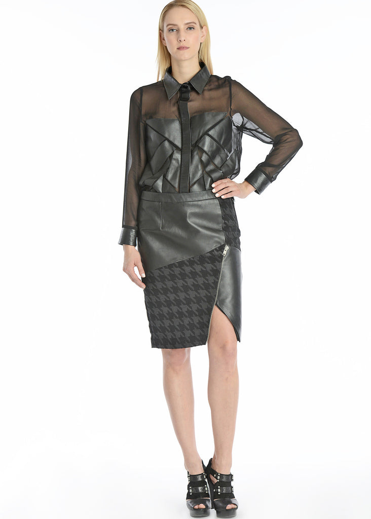 Leather & houndstooth skirt w/ asymmetrical hem