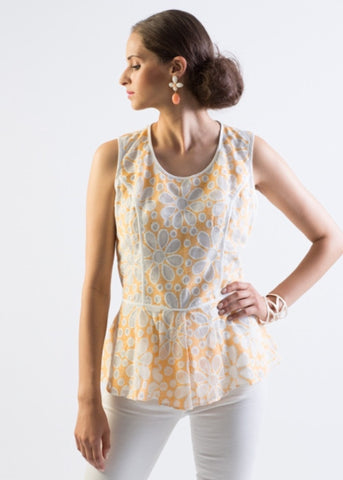 Peplum floral lace, open back blouse