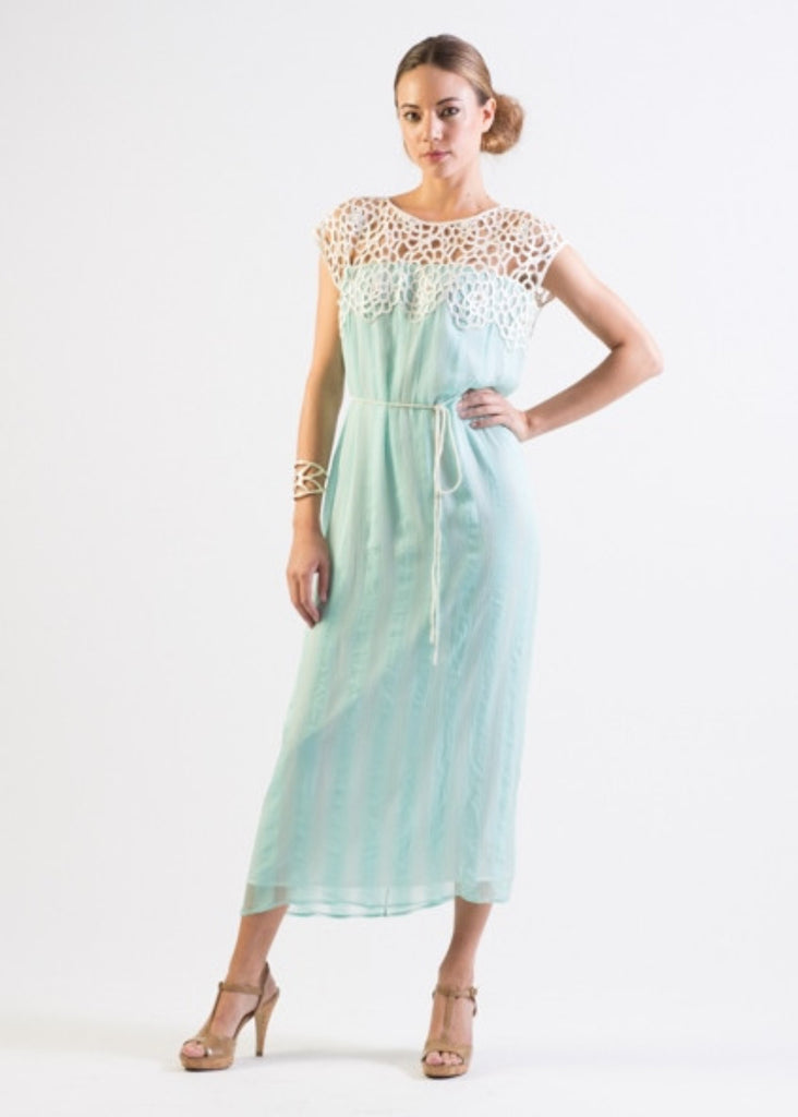 Pastel Mint Silk chiffon self striped dress w/ lace yoke