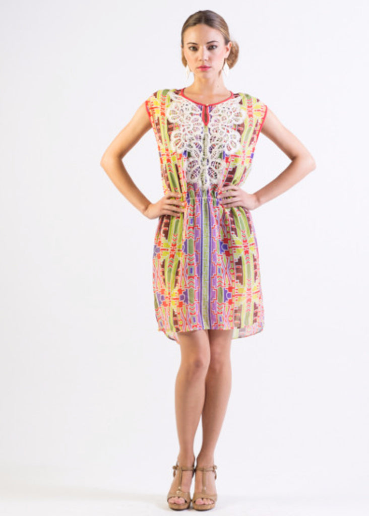 Multi-color tribal print chiffon short dress with lace details
