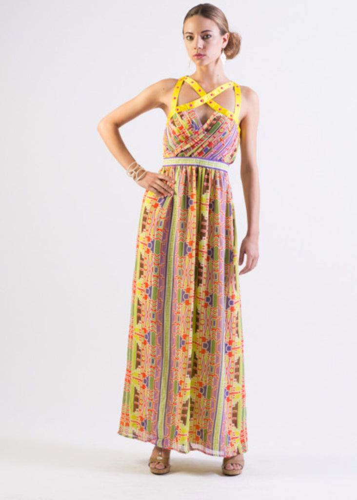 Multi-color tribal print chiffon maxi dress with straps detail