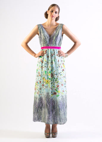 Silk floral print maxi dress with contrast trim - SOLD OUT