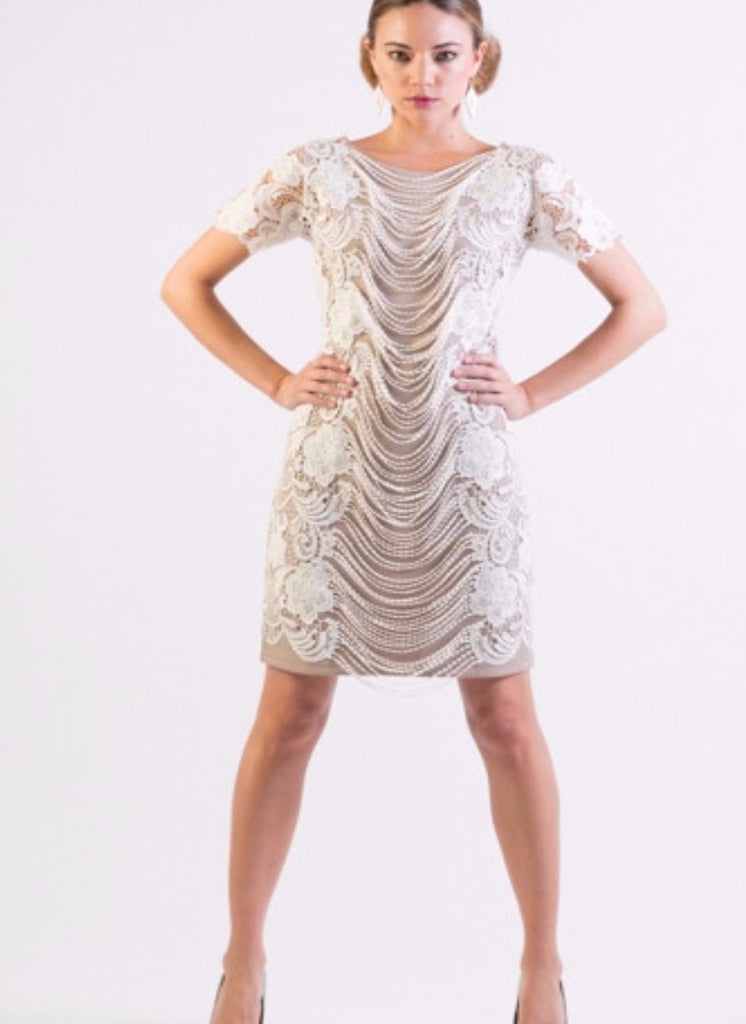Dangling Lace overlay ponte knit body-con dress - SOLD OUT