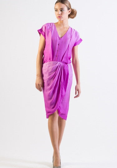 Self patterned ombre silk draping detail dress