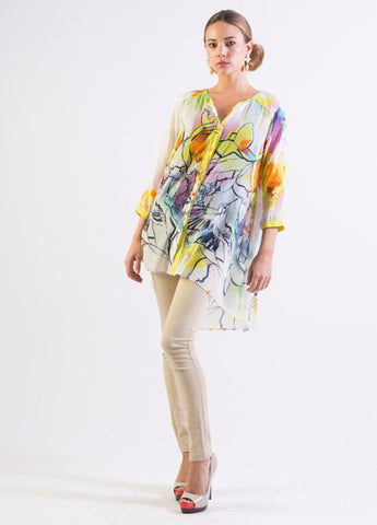 Silk/ Cotton abstract bird print hi-low hem long shirt