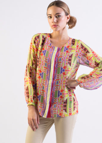 Multi-color tribal print chiffon button-down shirt