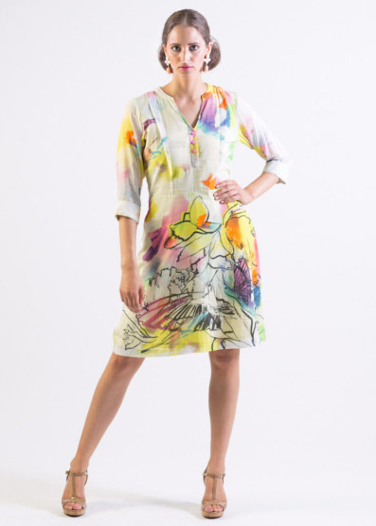 Silk/ Cotton abstract bird print fit & flare dress