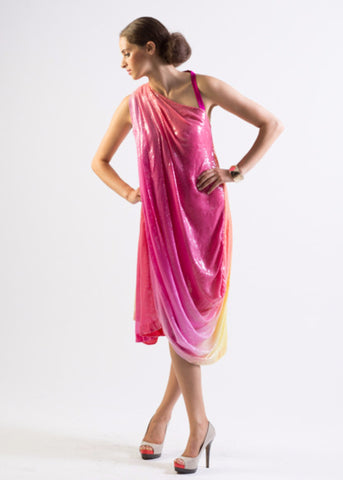 Aphrodite- Draped all over ombre sequin one shoulder dress