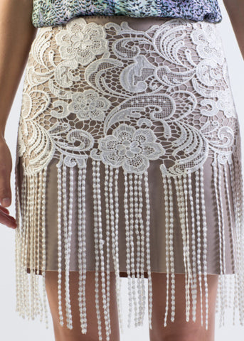 Fringe detail lace overlay Ponte pencil skirt