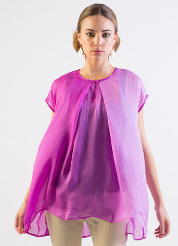 Silk self-check patterned ombre trapeze top