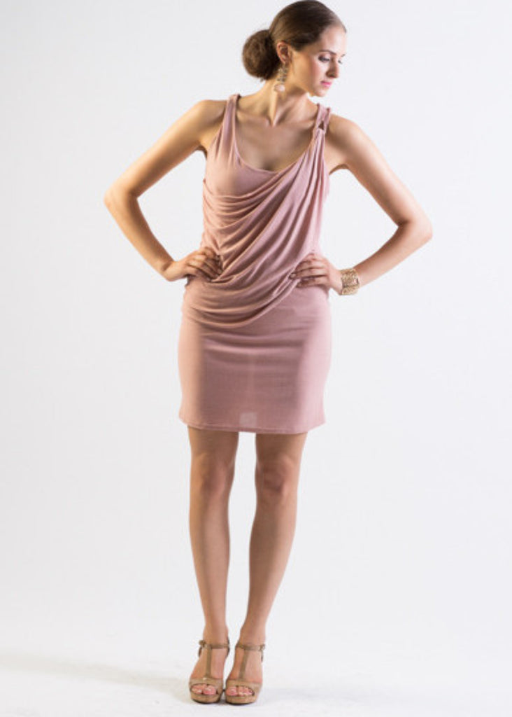 Jersey body-con dress with draped front
